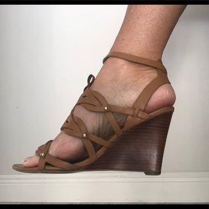 Ivanka Trump ankle strap wedge heel shoes